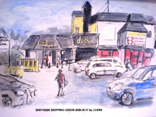 Cartoon: Northside Shopping Centre Dublin (medium) by jjjerk tagged northside,shopping,centre,cartoon,cars,people,caricature,view,panaramic