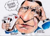 Cartoon: Busted Flush (small) by jjjerk tagged barroso,manuel,jose,busted,flush,cartoon,caricature,cards,spades,hearts,diamonds,clubs,ec,lisbon,portugal,spain,ireland,president,cyprus