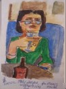 Cartoon: Mary having a glass of wine (small) by jjjerk tagged mary,cartoon,caricature,portrait,green,bottle,glasses