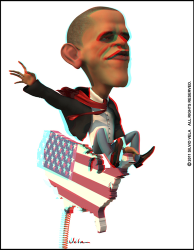 Cartoon: Barack Obama (medium) by Silvio Vela tagged vela,silvio,caricatures,illustration,cartoon,caricature,stereo,3d,image,anaglyph,states,united,of,president,obama,barack