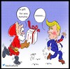 Cartoon: Santa Claus and trump (small) by Hossein Kazem tagged santa,claus,and,trump