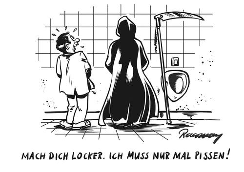 Cartoon: Nur mal pissen (medium) by Gabor Toons tagged cartoon,schwarzer,humor,sensenmann