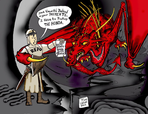 Cartoon: Knight in the Hood. (medium) by DaD O Matic tagged dragons,knights,honda,repo