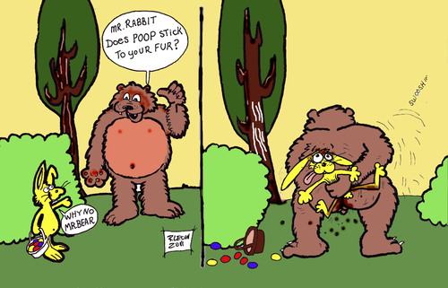 Cartoon: What the Charmin Bear uses. (medium) by DaD O Matic tagged bear,rabbit,forest,poop,charmin,fur