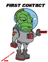 Cartoon: FIRST CONTACT.......HIGH (small) by DaD O Matic tagged alien,drugs,alcohol,et