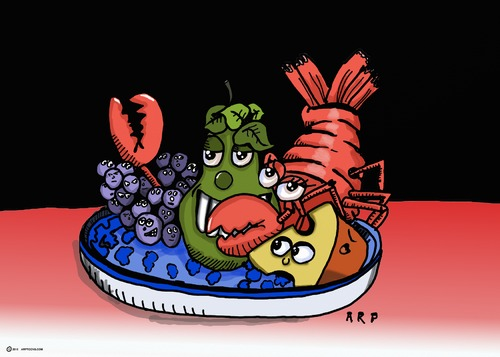 Cartoon: LOBSTER AND PEAR (medium) by tonyp tagged arp,grapes,lobster,pear,green,arptoons