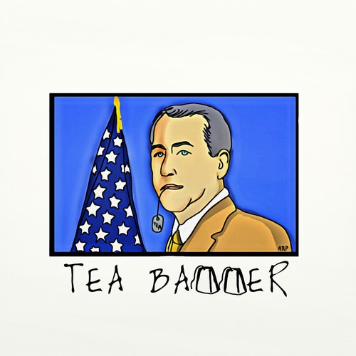 Cartoon: TEA BAGGER (medium) by tonyp tagged arp,us,government,deer,xmas,cats,pot,music,shivering,den,toons,wacom,dogs,animals,games,cartoons,space,dreams,ipad,camera,tonyp,chickens,boehner