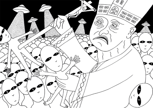 Cartoon: The Pope vs Aliens (medium) by baggelboy tagged pope,aliens,fight