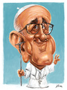 Cartoon: Francisco I (small) by William Medeiros tagged pope,papa,francisco