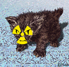 Cartoon: Persian kitten (small) by LeeFelo tagged kitten,cat,persian,nuclear,radioactive,yellow,brown,grin,claws,fur,fuzzy,atomic,evil,blue,carpet,weapon