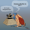 Cartoon: Ulysses was here (small) by LeeFelo tagged ulysses polyphemus blind cane seeing eye