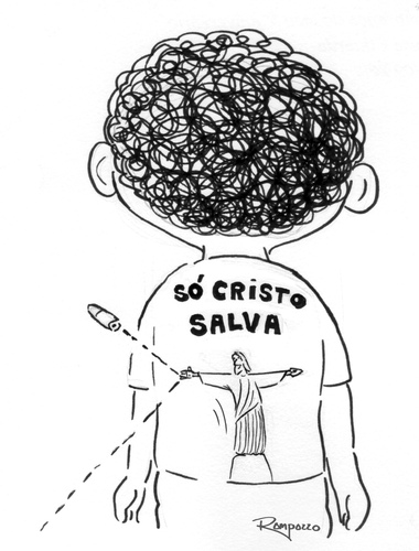 Cartoon: Only Christ Save (medium) by Marcelo Rampazzo tagged narcotrafic,die,childrens,violence,christ,save,childrens,die,narcotrafic,violence,christ,save