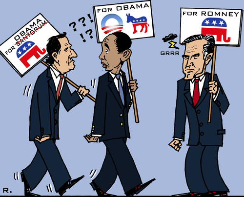 Cartoon: Desertion (medium) by RachelGold tagged usa,pre,election,campaign,santorum,obama,romney,republicans,democrates