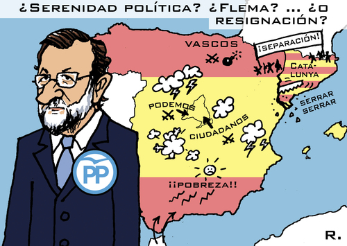 Cartoon: Don Quijote Rajoy (medium) by RachelGold tagged spain,elections,parties,pp,psoe,podemos,ciudadanos,rajoy