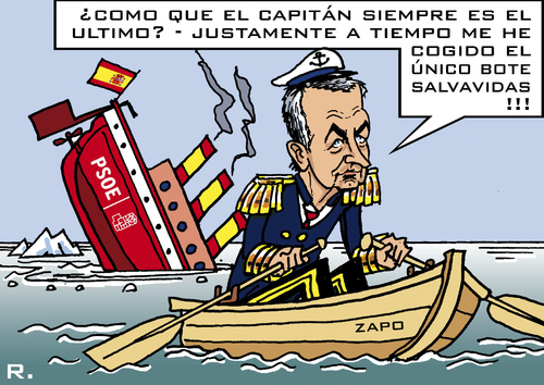 Cartoon: Ex-Capitan (medium) by RachelGold tagged election,resignation,barco,psoe,zapatero,spain