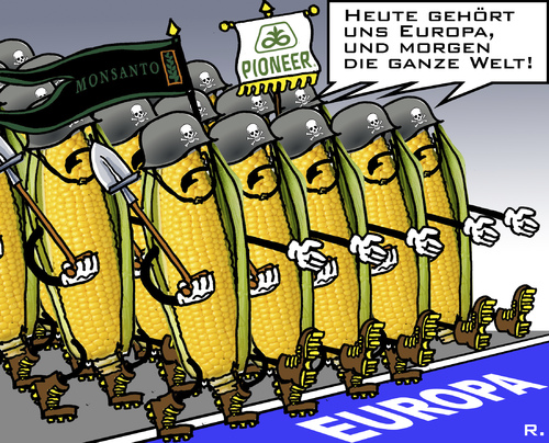 Cartoon: Genmais - im Vormarsch (medium) by RachelGold tagged genmais,eu,verbot,ende,monsanto,pioneer,gentechnik