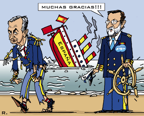 Cartoon: Handover of Power (medium) by RachelGold tagged election,resignation,barco,pp,psoe,rajoy,zapatero,spain