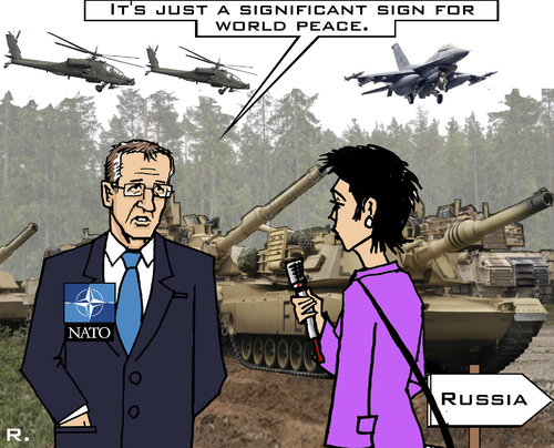 Cartoon: Peace Organization (medium) by RachelGold tagged nato,manoeuvres,summit,peace,uas,russia,poland,provocation,stoltenberg