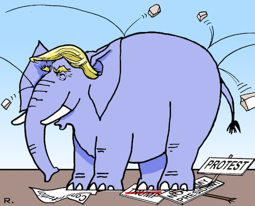 Cartoon: resistant to criticism (medium) by RachelGold tagged usa,president,trump,elephant,resistant,criticism