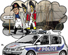 Cartoon: Little Great Men s Destiny (small) by RachelGold tagged france,sarkozy,affair,police,arrest,history,little,men,napoleon,elba