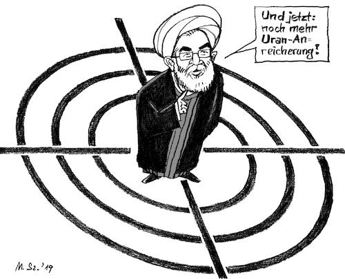 Cartoon: I- U- ranisches Roulette (medium) by MarkusSzy tagged iran,usa,golf,krieg,uran,atom,abkommen