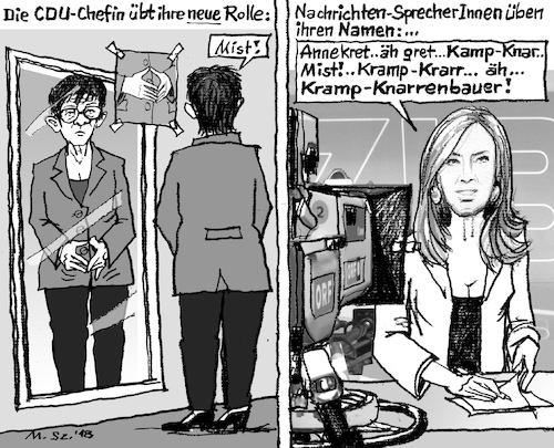 Cartoon: Neue CDU-Chefin - Einarbeiten (medium) by MarkusSzy tagged deutschland,cdu,chefin,merkel,raute,akk,annegret,krampkarrenbauer,nachrichten,sprecherin