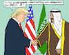 Cartoon: for the world peace (small) by MarkusSzy tagged usa,saudi,arabia,trump,king,salman,peace,weapons