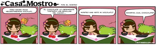 Cartoon: Clases de cocina con xochi 2 (medium) by mostro tagged xochiquetzal,mostro,huitzilopochtli,food,mole,mexicana,comida,chiles,jaguar,ocelotl