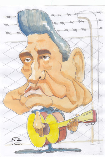 Cartoon: Johnny Cash (medium) by zed tagged johnny,cash,musician,rock,music,folsom,prison,blues,usa,portrait,caricature,famous,people