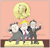 Cartoon: Nobel Peace Prize Candidates? (small) by firuzkutal tagged nobel peace prize kim jong hu donald trump usa south north korea moon jae in negotiations talk committe 2018 nobelpreis