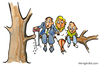 Cartoon: Cutting the branch (small) by Frits Ahlefeldt tagged conflict,angry,man,tree,cutting,branch,family,children,quit,saw,businessman