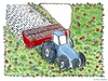 Cartoon: Words (small) by Frits Ahlefeldt tagged civilization,education,words,alphabet,meadow,grass,understanding,knowledge,tractor