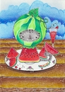 Cartoon: Kitty or Melon Commission (small) by Metalbride tagged cat,katze,kater,melone,melon