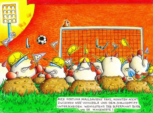 Cartoon: Maulwurf_Fortuna (medium) by Jupp tagged illustration,relegation,bomm,jupp,stadium,stadion,fans,final,finale,referee,soccer,fussball,mole,maulwurf,cartoon,witz,idee,bundesliga,tor