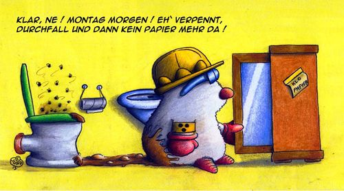 Cartoon: Maulwurf Klopapier (medium) by Jupp tagged maulwurf,mole,jupp,cartoon,toon,toilette,klopapier