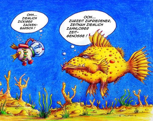 Cartoon: Zackenbarsch (medium) by Jupp tagged maulwurf,cartoon,tauchen,ozean,meer,fisch,zackenbarsch,jupp