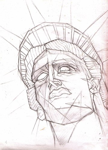 Cartoon: Statue of liberty sketch (medium) by Playa from the Hymalaya tagged statue,liberty,new,york,usa,america,freiheitsstatue