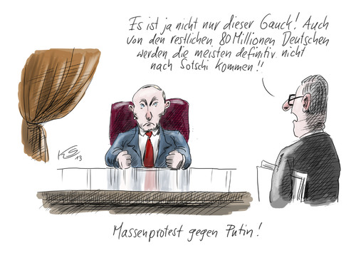 Cartoon: Massenprotest (medium) by Stuttmann tagged putin,russland,sotschi,olympiade