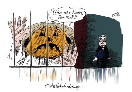 Cartoon: Saures (medium) by Stuttmann tagged mindestlohn,merkel,hundt,halloween