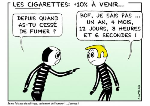 Cartoon: Les cigarettes (medium) by chatelain tagged humour,cigarettes