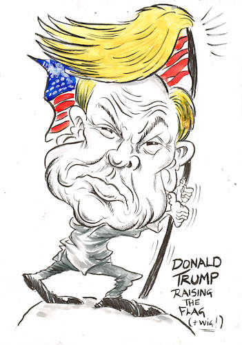 Cartoon: DONALD TRUMP RAISING HIS WIG! (medium) by Tim Leatherbarrow tagged donaldtrump,flag,starsandstripes,wig,president,usa,america