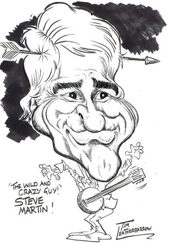 Cartoon: STEVE MARTIN (medium) by Tim Leatherbarrow tagged stevemartin,comedy,wildandcrazyguy,banjo,timleatherbarrow