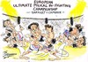 Cartoon: SARKOZY V CAMERON (small) by Tim Leatherbarrow tagged politics,europe,sarkozy,cameron,britain,france,euro