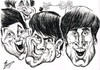 Cartoon: THE BEATLES (small) by Tim Leatherbarrow tagged beatles,john,lennon,paul,mccartney,george,harrison,ringo,starr,liverpool