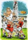 Cartoon: The Throw In (small) by Tim Leatherbarrow tagged sport,rugby,football,tim,leatherbarrow