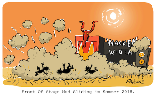 Cartoon: Mud Sliding in Wacken (medium) by FEICKE tagged wacken,schlamm,rutschen,mud,slide,2018,sommer,hitze,trocken,staub,wacken,schlamm,rutschen,mud,slide,2018,sommer,hitze,trocken,staub