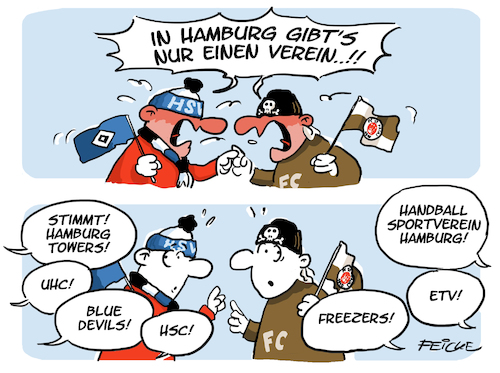 Cartoon: Nur einen Verein (medium) by FEICKE tagged hamburg,fc,st,pauli,hsv,sportverein,fußball,fussball,derby,bundesliga,spiel,verein,sport,handball,basketball,wasserball,damen,etv,uhc,hockey,american,football,blue,devils,hamburg,fc,st,pauli,hsv,sportverein,fußball,fussball,derby,bundesliga,spiel,verein,sport,handball,basketball,wasserball,damen,etv,uhc,hockey,american,football,blue,devils