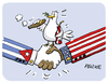 Cartoon: Cuba Usa handshake (small) by FEICKE tagged cuba,kuba,usa,united,states,amerika,america,obama,peace,friedenstaube