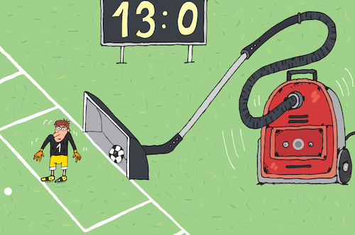 Cartoon: Cleaner (medium) by belozerov tagged staubsauger,cleaner,hoover,fussball,football,soccer,russia,torwart,goalkeaper,score,tor