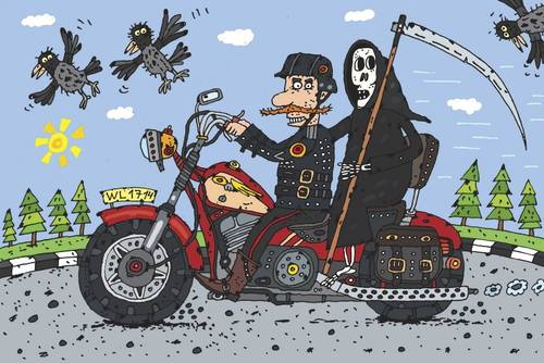 Cartoon: The Biker (medium) by belozerov tagged motorrad,motorcycle,biker,death,tod,grim,pearer